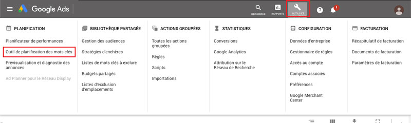 tuto acceder à outil planification mot cle google ads