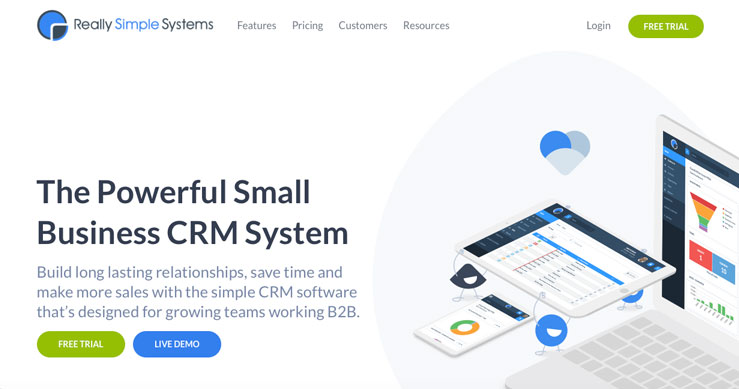 illustration really simple systems crm landing page web site design